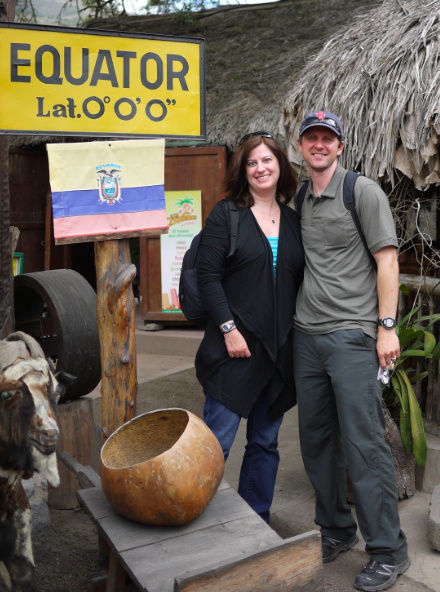 Us at the Equator - Yes, that is a goat!