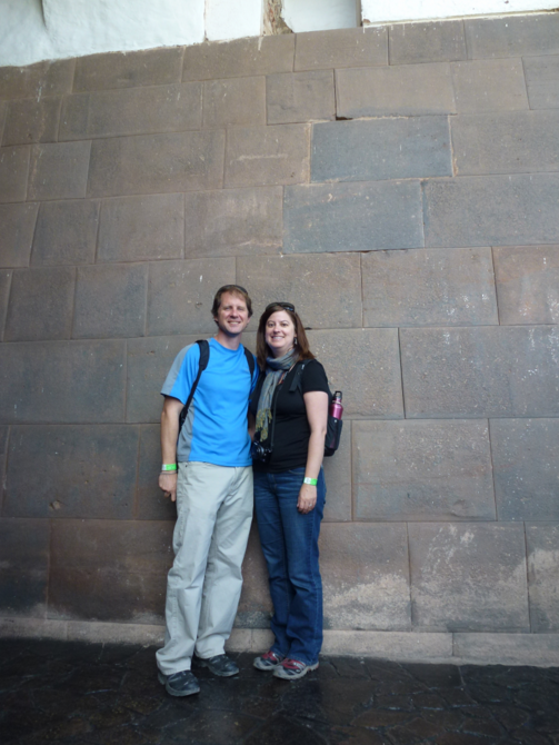 Us! (and an Incan Wall at the Temple of the Sun)