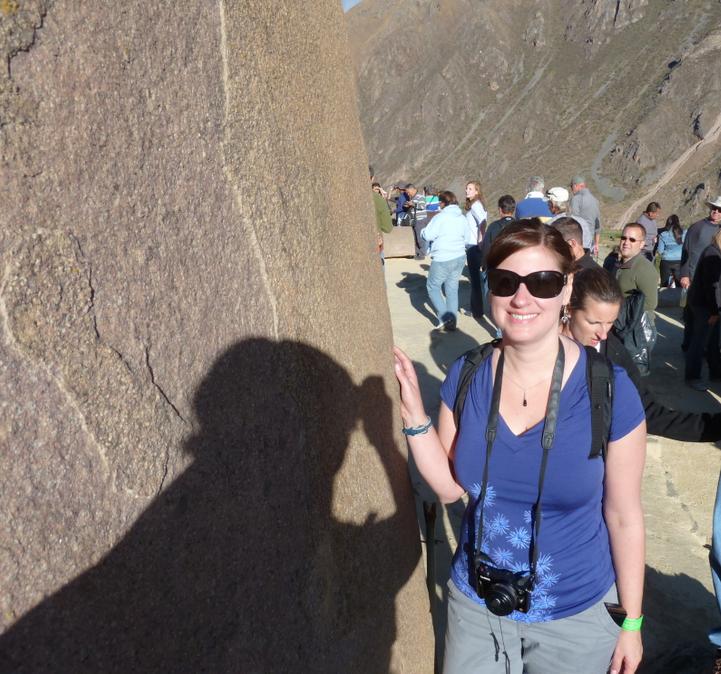 Kathy at the 6 stones of the Royal Temple - Ollantaytambo