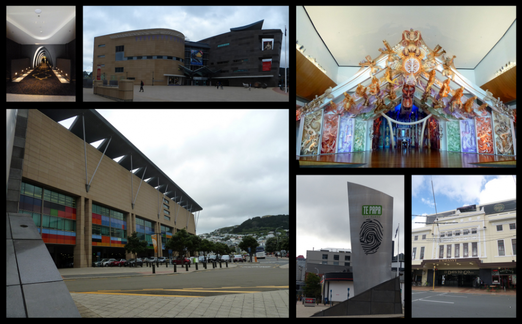 Clockwise from top left: Hallway to bar & theaters in Embassy, Te Papa, Marae at Te Papa, Outside of the Embassy Theater, Te Papa Sign, More Te Papa