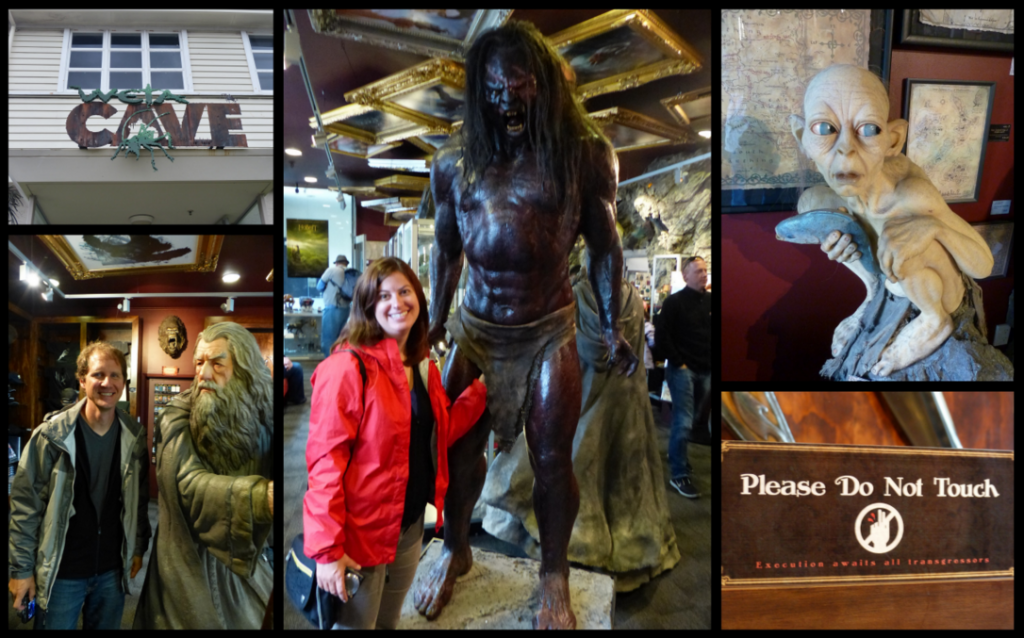 Clockwise from top left: Weta Cave sign, Kat & Lurtz, Gollum, sign in the museum shop, Kyle and Gandalf