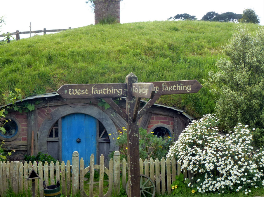 Hobbit Hole with Sign