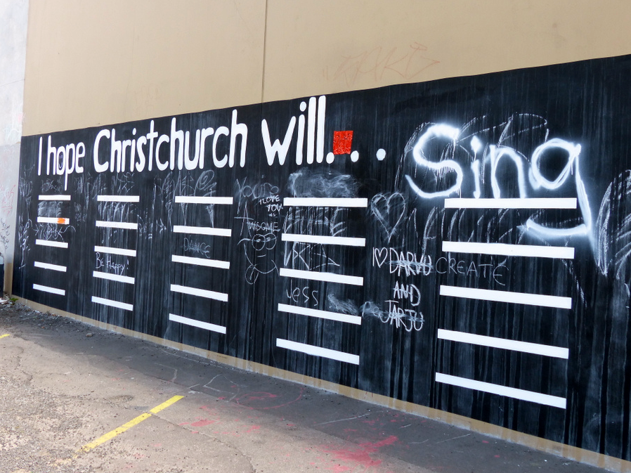 Chalkboard wall in the most damaged area of Christchurch. Hope lives!