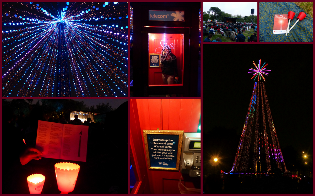 Clockwise from top left: Watching our wish travel up the tree, phoning in our wish to Santa, the crowds, candles and carol book, tree in Latimer Square, Sign in the Santa Line Booth, Carols by Candlelight