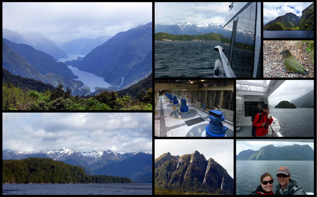 First view of Doubtful Sound, reflections on the boat window, view of first arm from the boat, Kea at West Arm, Hot Tea!, us on Doubtful Sound, cliffs on Lake Manapouri, Underground Power station, Doubtful Sound