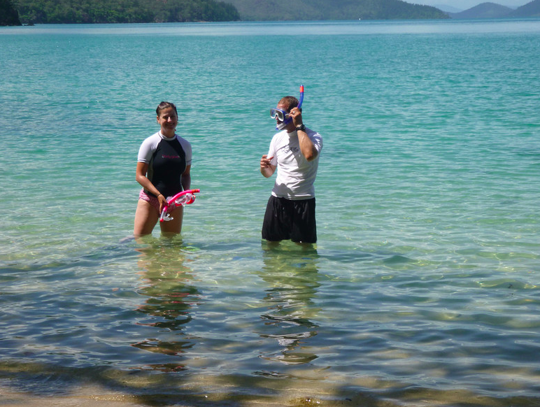Us snorkeling - right before I got stung by a jellyfish