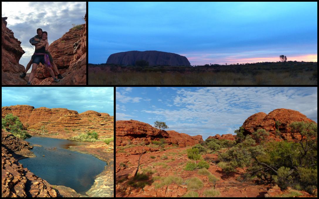 Clockwise from top left: Us at Watarrka, sunset at Uluru, Watarrka canyon, small pool at Watarrka