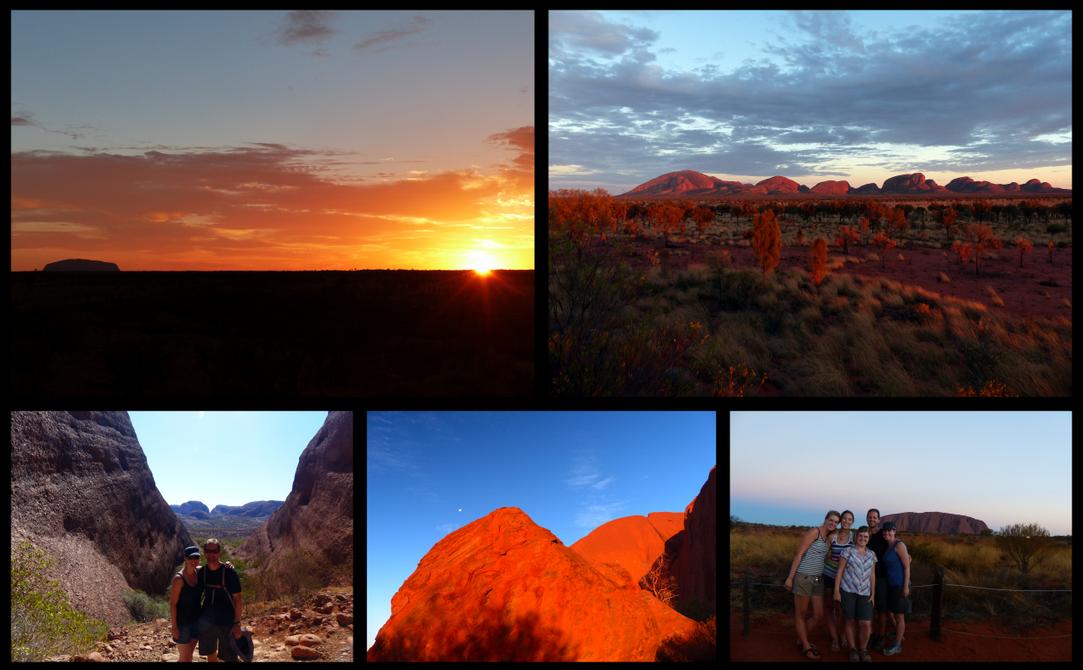 Clockwise from top left: sunrise over Uluru, sun pinks over Kata Tjuta, Friends at Uluru, Moonrise over Uluru, Us at Valley of the Winds, Kata Tjuta