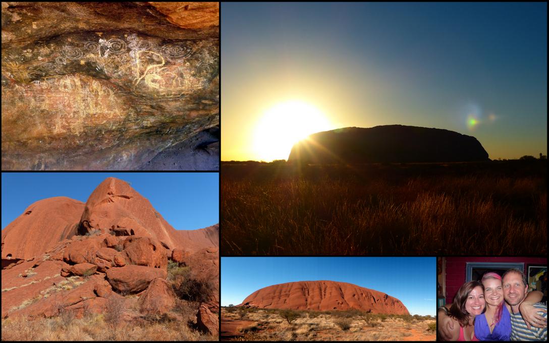 Clockwise from top left: Rock drawings on Uluru, Uluru at sunrise, partying with Pebbles, Uluru on our hike, close up of Uluru