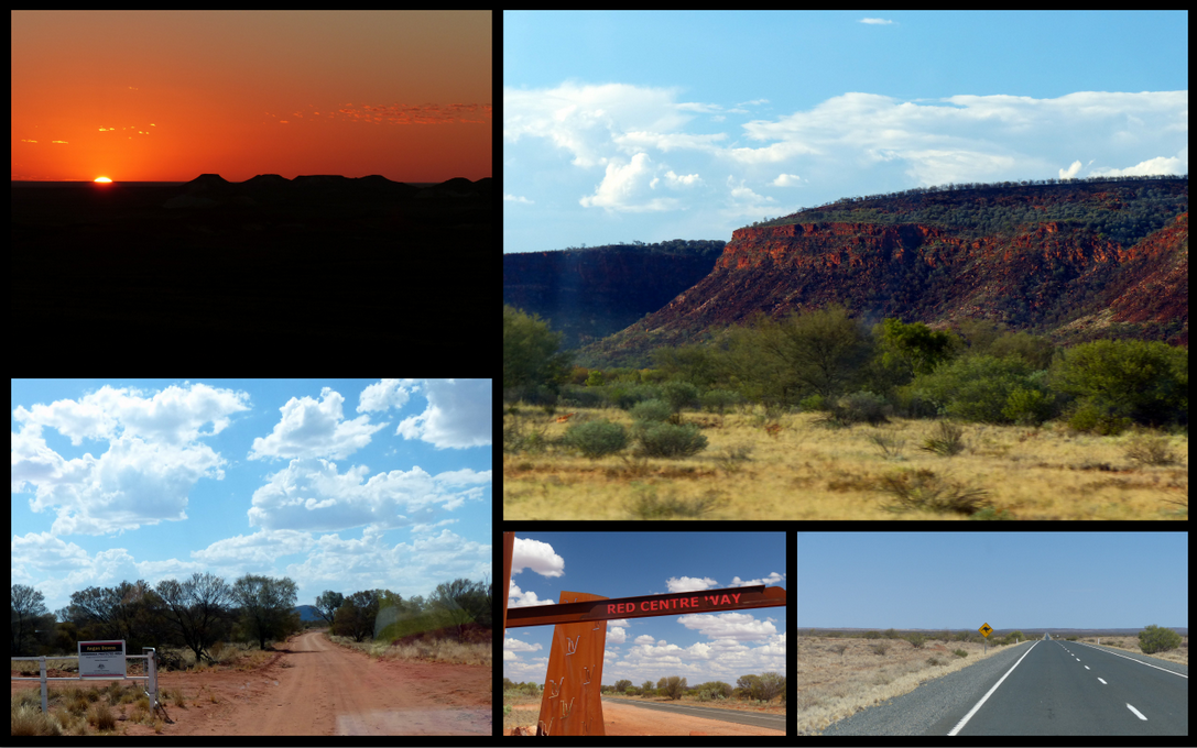Clockwise from top left: Sunrise over The Breakers, Sunset on the Giles Ranges, Road to the Centre, The Red Centre, Road to Angas Downs