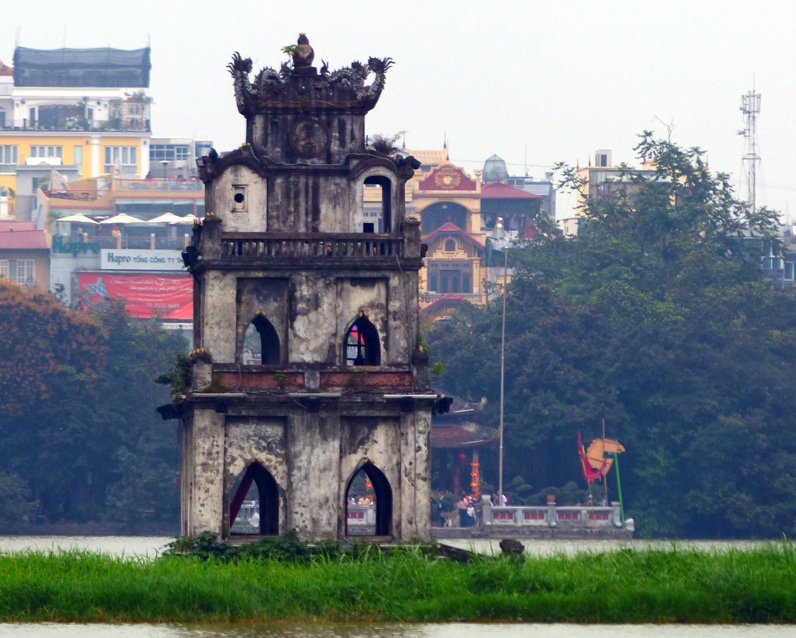 The Turtle Pagoda in Hoan Kiem Lake.