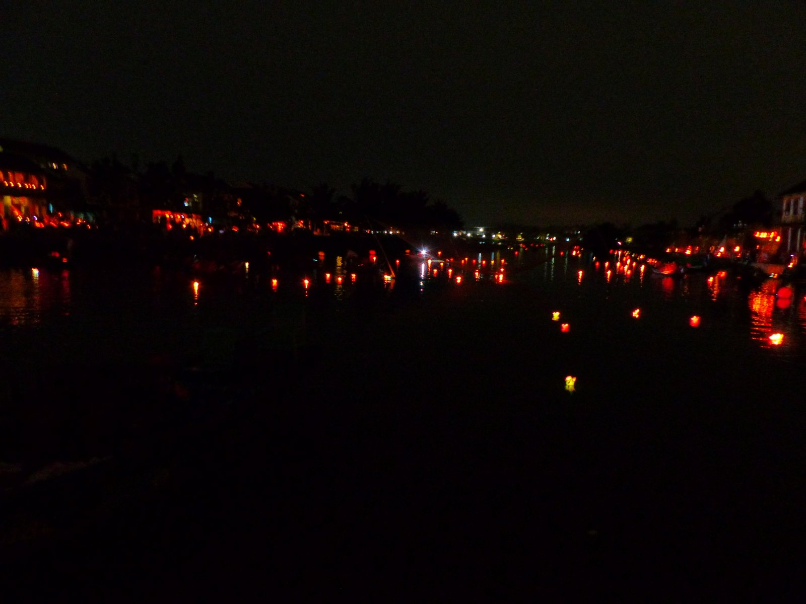 Lanterns floating down the river.