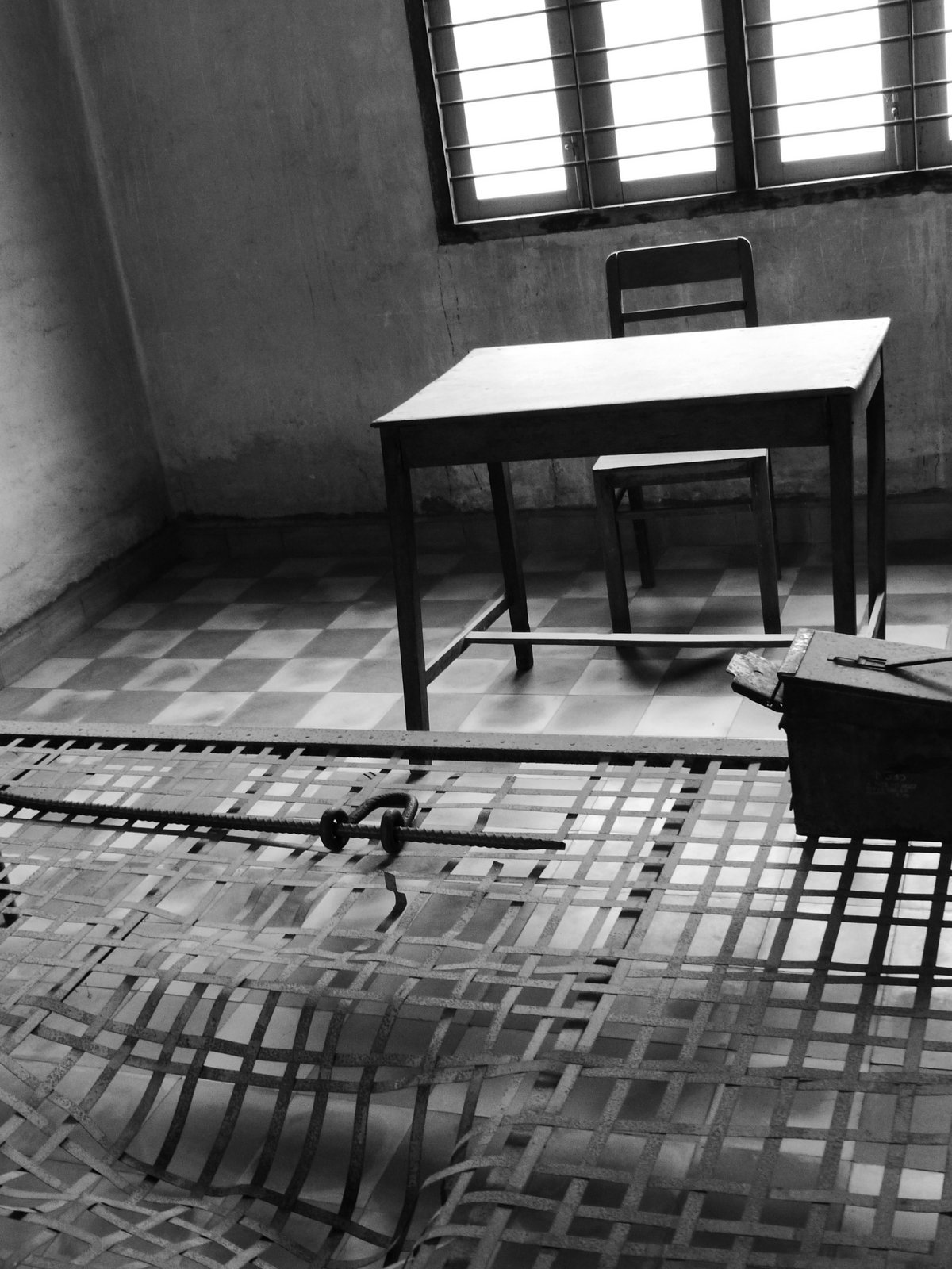 One of the interrogation rooms at Tuol Sleng (S-21) prison. In these rooms, victims were brutally tortured until they confessed to whatever their interrogators wanted them to confess to.
