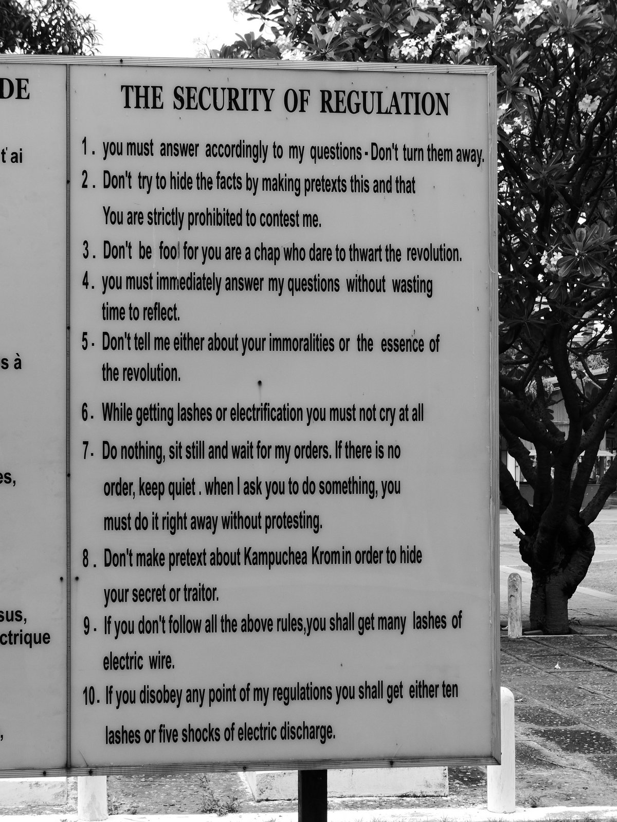 The Rules of Interrogation for prisoners at S-21. During the Khmer Rouge regime, more than 14,000 people were imprisoned, interrogated, and tortured here.