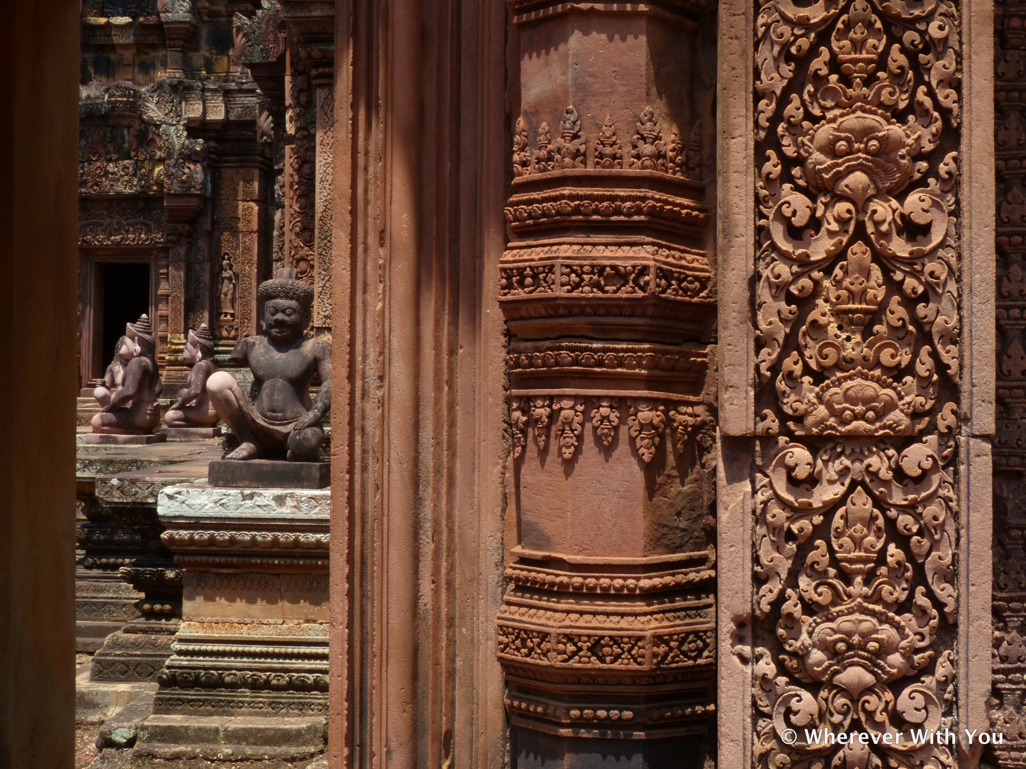 View through a doorway at Banteay Kdei (Citadel of the Women), named for its delicate carvings and pink sandstone.