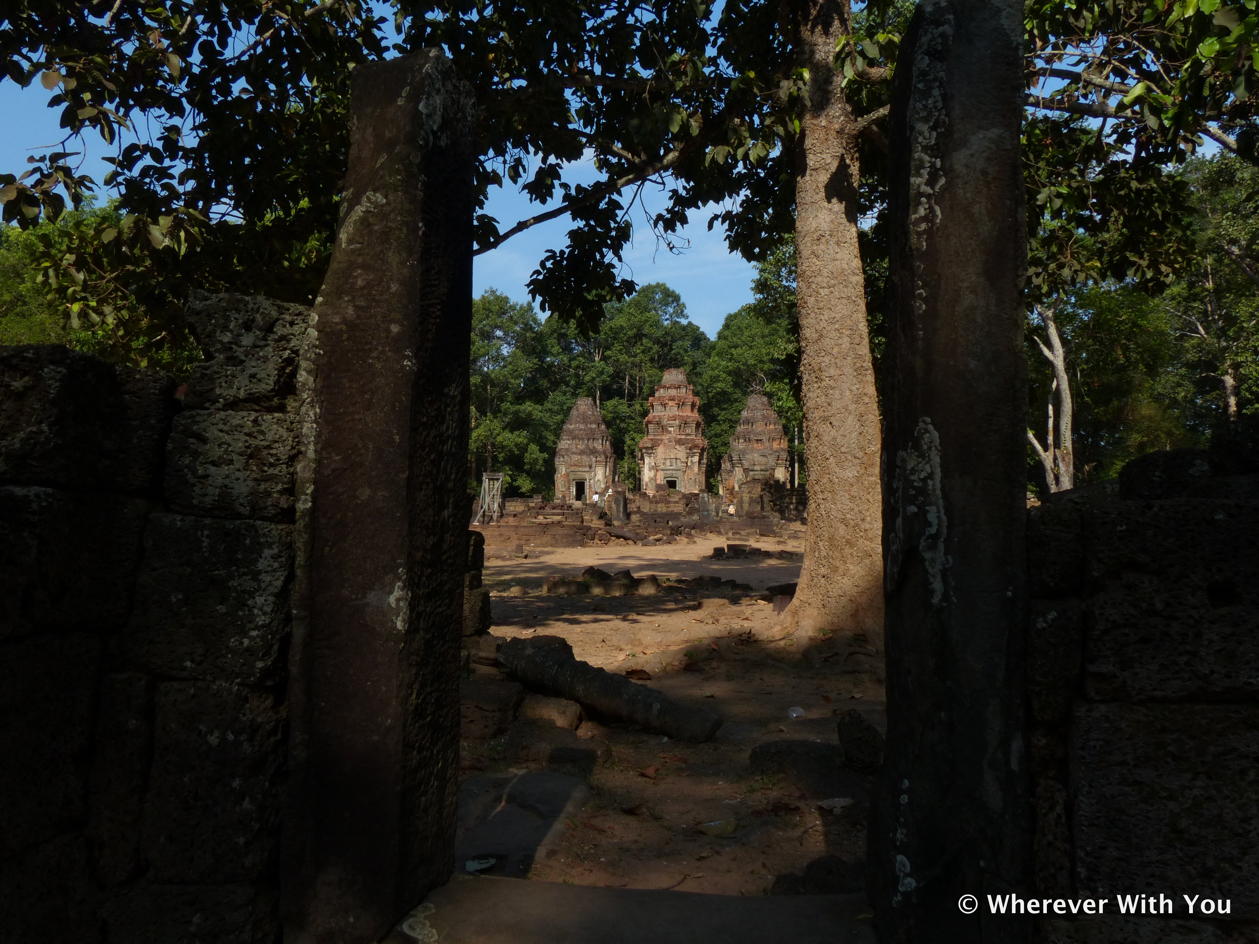 View of the towers at Preah Ko from the road.