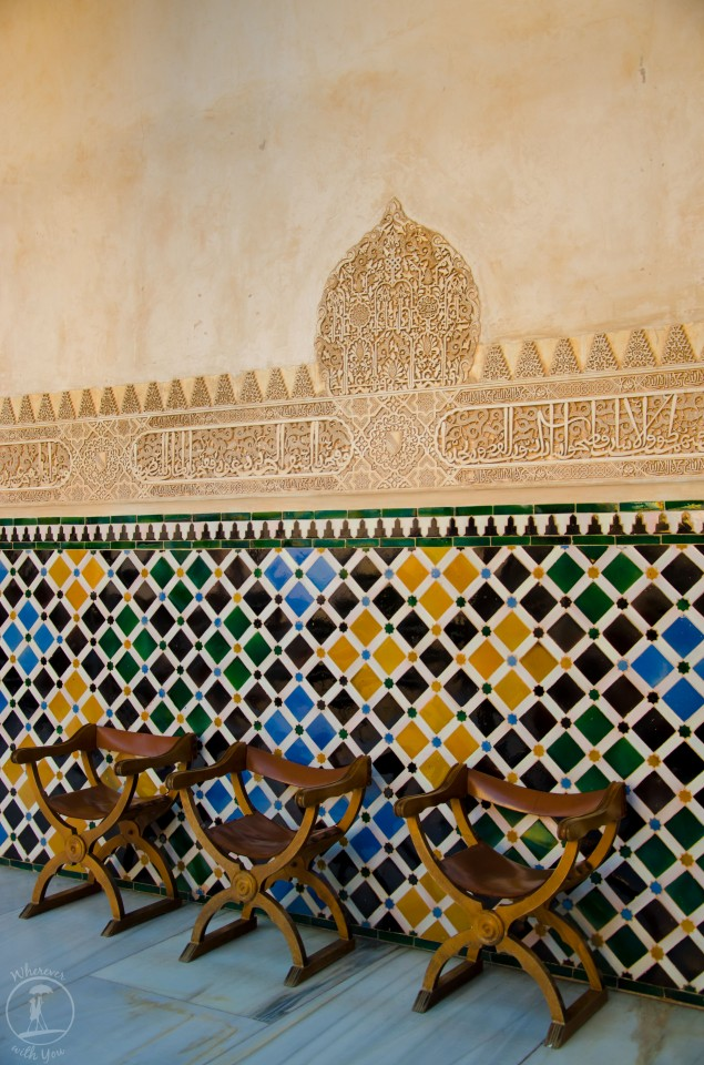 16 May, 2014 ~ Chairs line a gallery at the Alhambra in Granada, Spain.