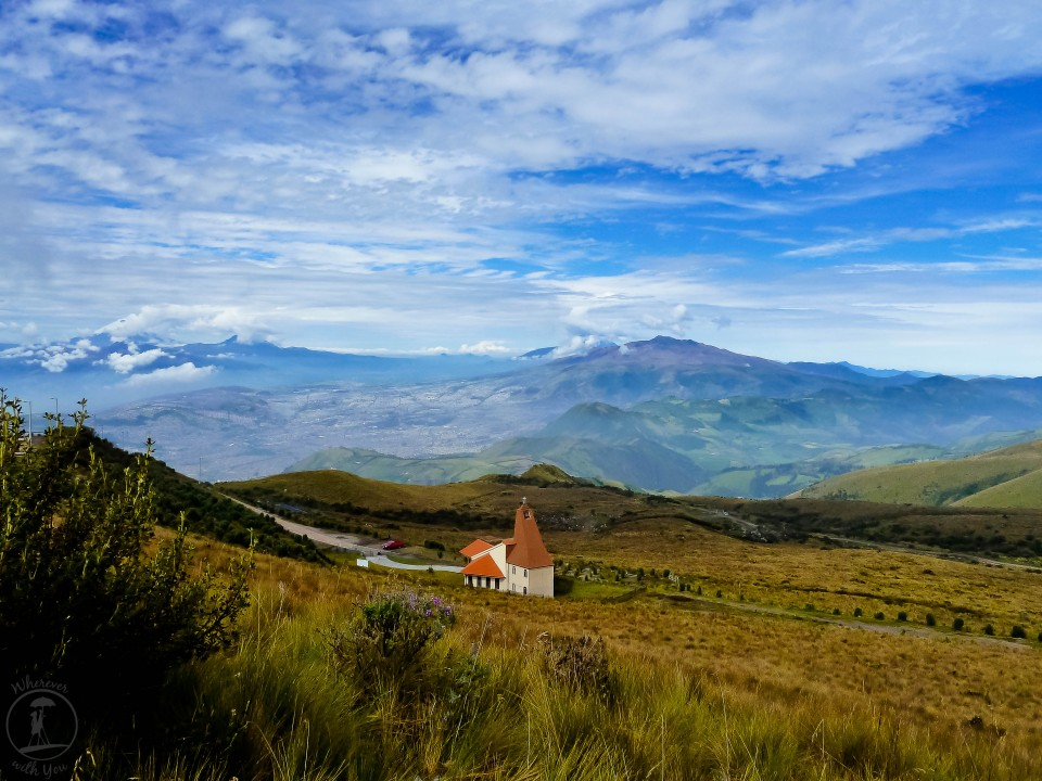 12 May, 2014 ~ From Quito, you can take the TeleferiQo most of the way up Pinchincha Volcano and then hike the rest of the way to the top. We passed this little mountaintop chapel along the way, the colors striking against the landscape of other famous volcanoes in the area, such as Cotopaxi, which is hiding in the clouds out in the distance. It was a beautiful afternoon.