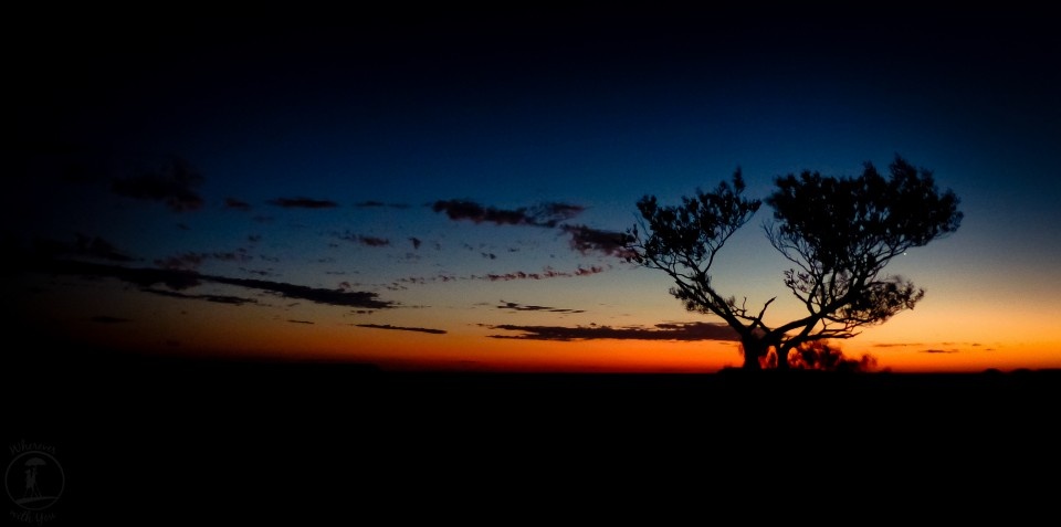 11 May, 2014 ~ We left Coober Pedy before dawn and drove through the darkness of the Australian Outback to the top of a ridgeline. We sat on a blanket in the morning coolness and silently waited for the sun to rise over The Breakers, nothing but the silhouette of the tree to let us know where we were until the sun slowly began to creep across the landscape.