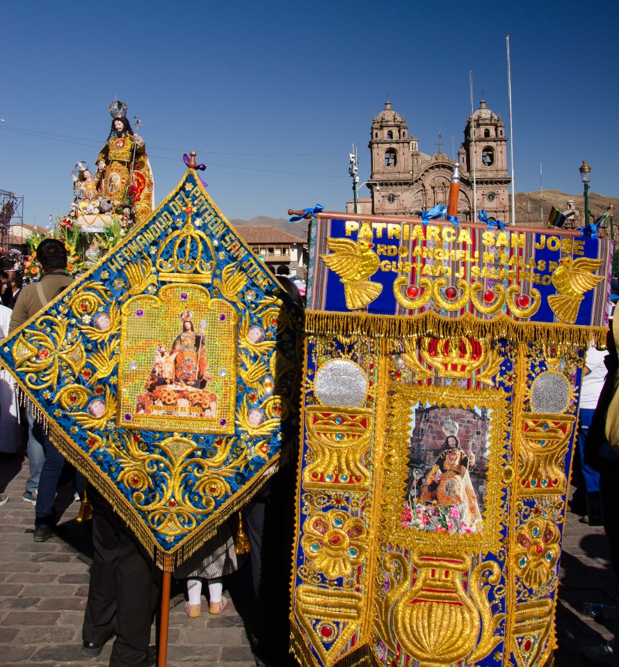 Some of the colorful banners. These are all embroidered totally by hand at Bordados just a few blocks from here.