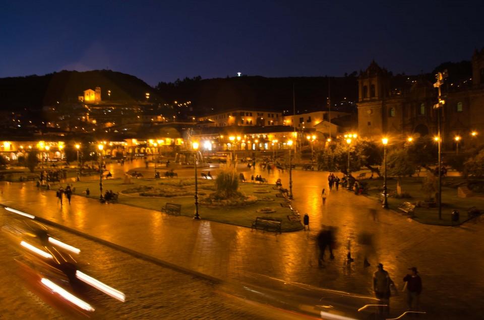 Plaza de Armas in the evening.