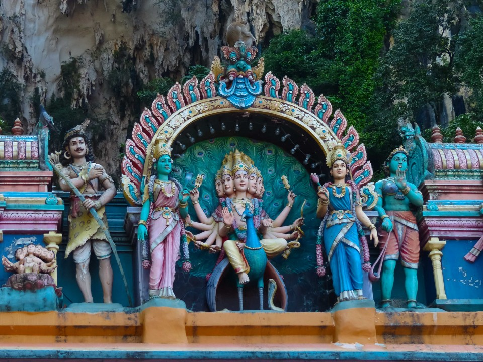 A shrine to Murugan. That is him with his wives on that peacock.
