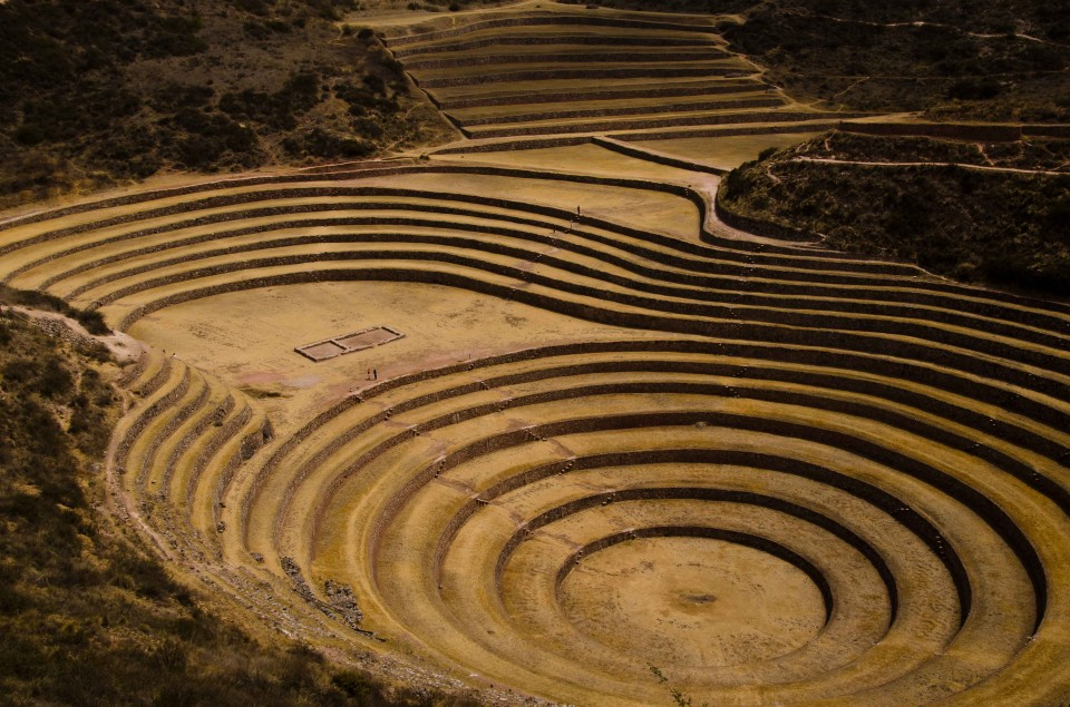 Tiny people explore the terraces of Moray