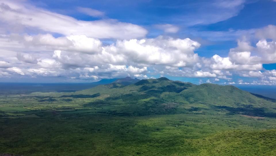 View of volcanoes from the top of Volcan Cerro Negro