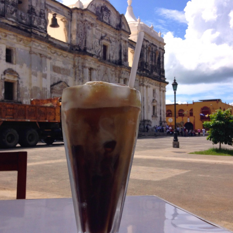 Iced Coffee on the plaza in Leon
