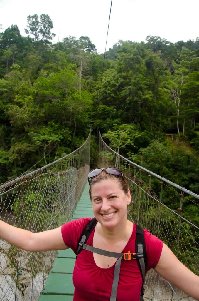 Kat on the swing bridge