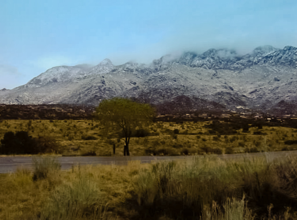 The Sandia Mountains (Our Mountains) with a bit of snow on them.