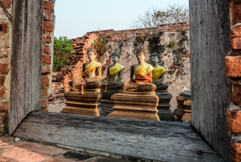 Buddhas tucked away in a remote corner of Wat Phutthaisawan.