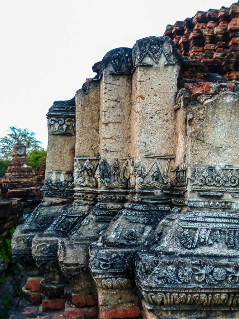Some of the detailed carving and plasterwork remain at one of the temple ruins.