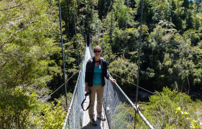 Kathy on swing bridge