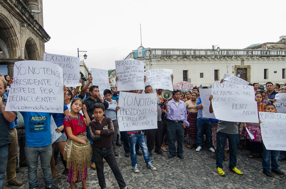 Local protests during the national strike on August 27th, calling for the President of Guatemala to resign. Businesses shut down throughout the country and everyone took to the streets.