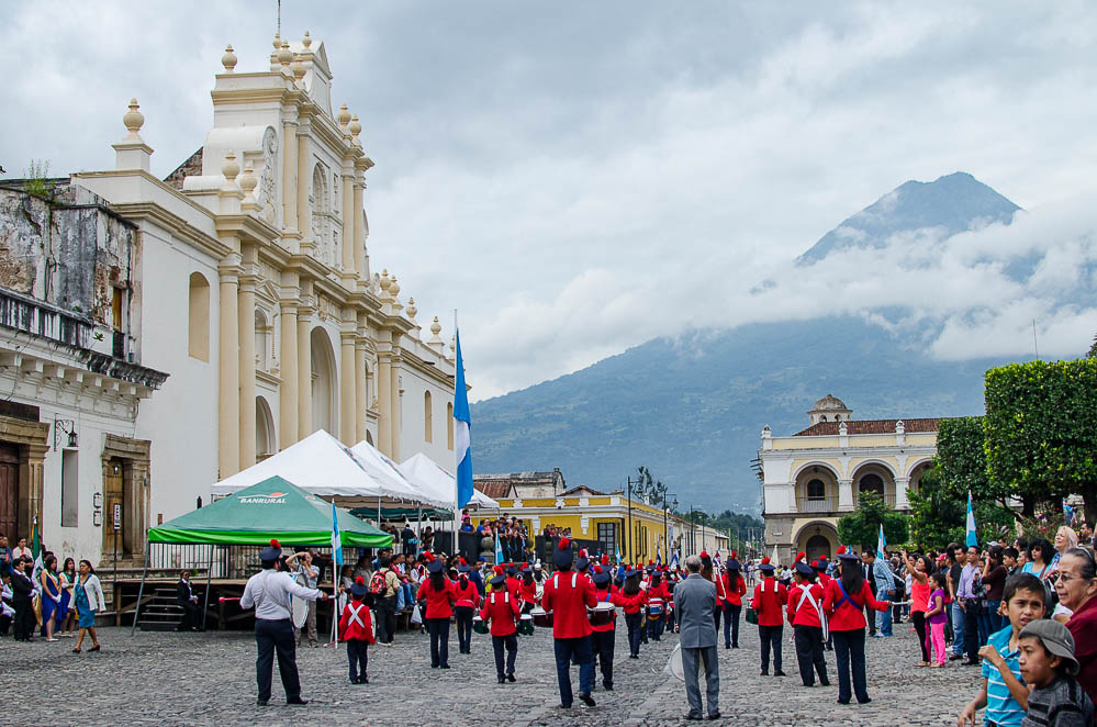 Marching band in front of the Cathedral on Independence Day. Volcan de Agua is in the background.