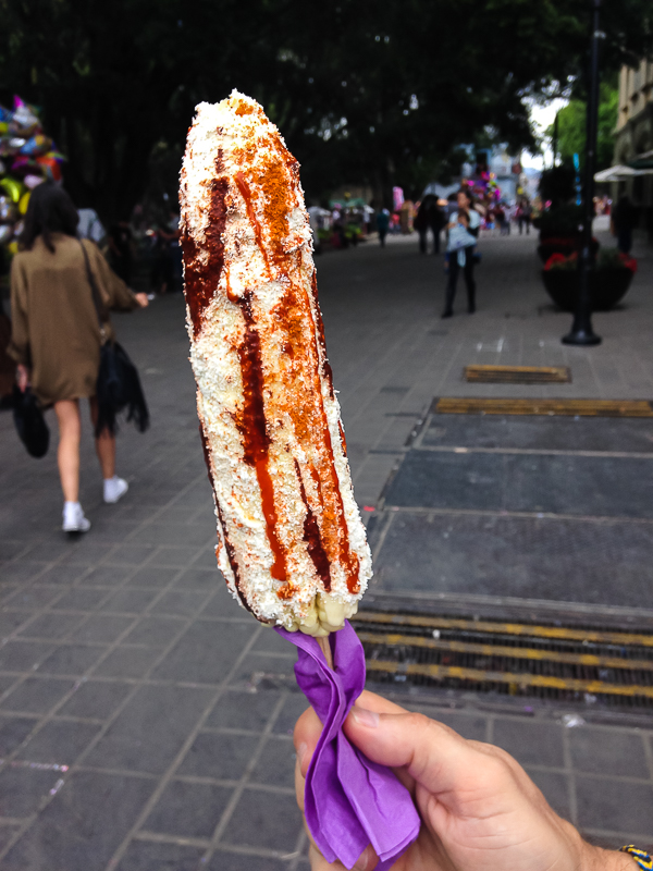 {Elote (corn on the cob) on the Zócalo. One of our favorite snacks.}