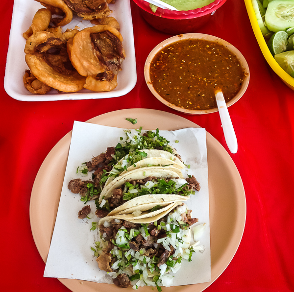 {Tacos arranchera from our favorite little stand at the Friday Llano market.}