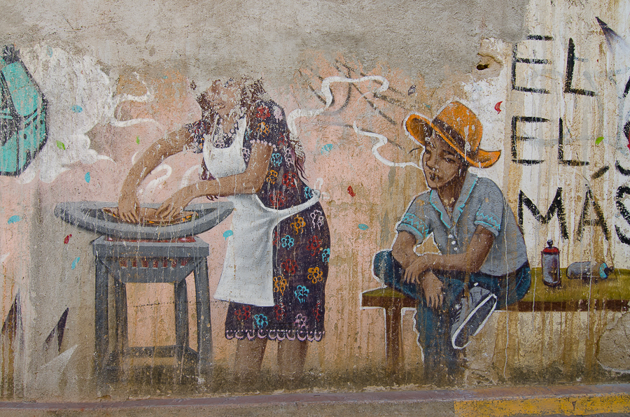 {Oaxacan life - fading street art}