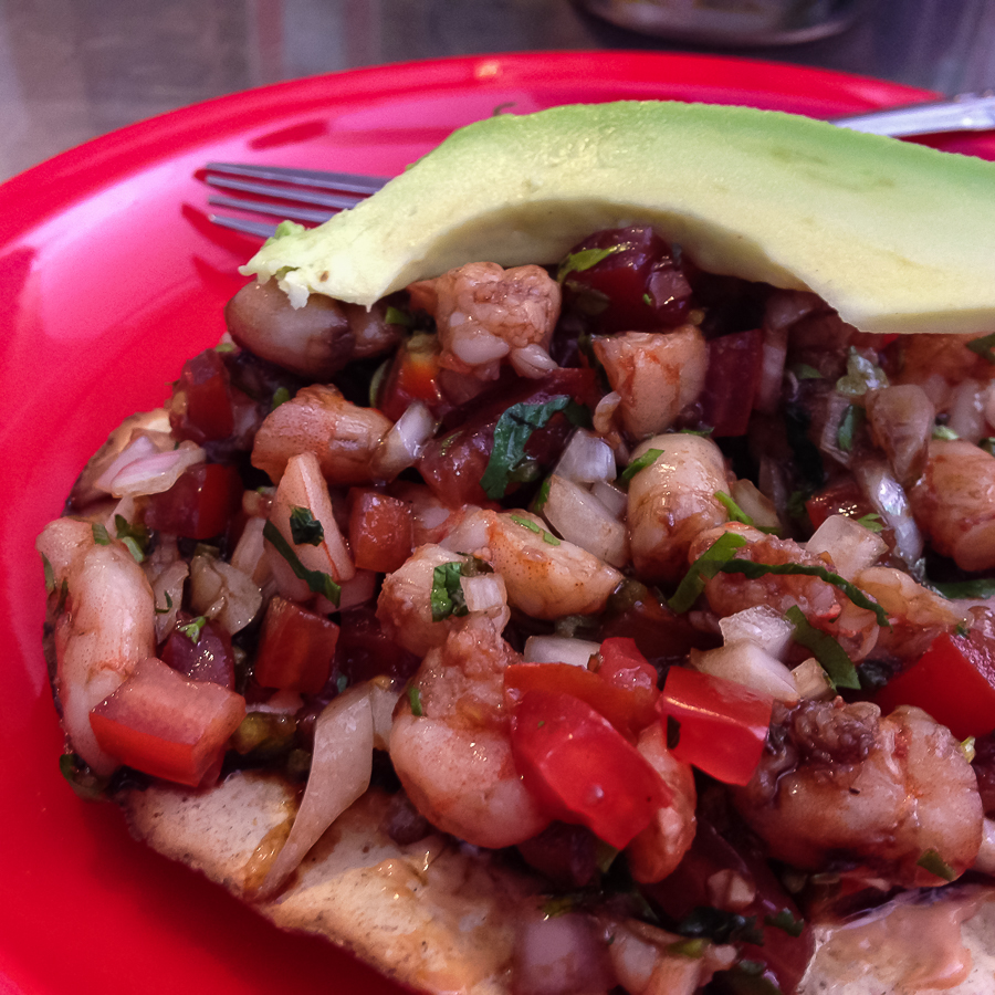 {Shrimp tostada from our newest favorite place - Ramon Camaron}
