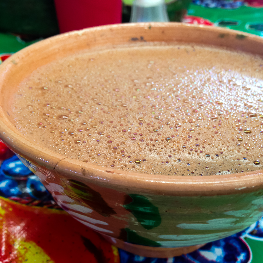 {Chocolate de Agua from the Mercado d'Etla. Just pure chocolate and spices, mixed with water}