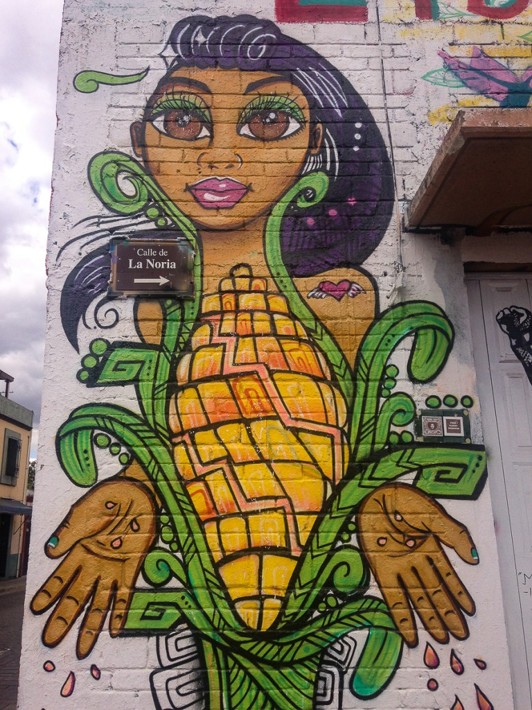 {Corn Maiden - street art just around the corner from our home}