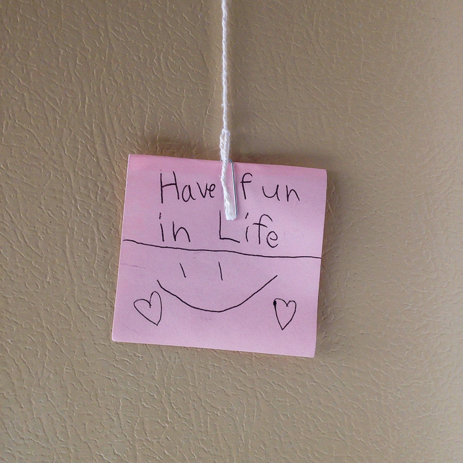 {Found this little note hanging in a random spot in my parents' house. Love seeing what I can find around here if I pay attention.}