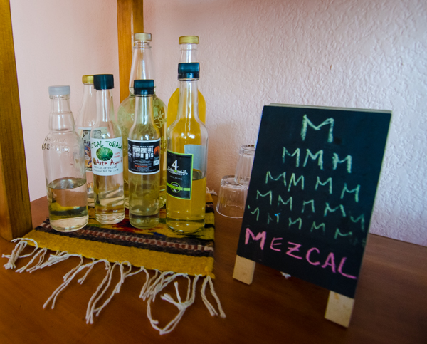 {Can't live in Oaxaca without a mezcal collection. Ours is ever changing as we buy and then drink.}