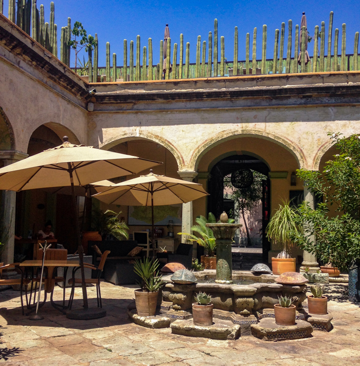 {The view of one of my many café offices. This is the courtyard of Casa de la Sierra Azul, a beautiful boutique hotel not far from our apartment. Not a bad spot to do some writing.}
