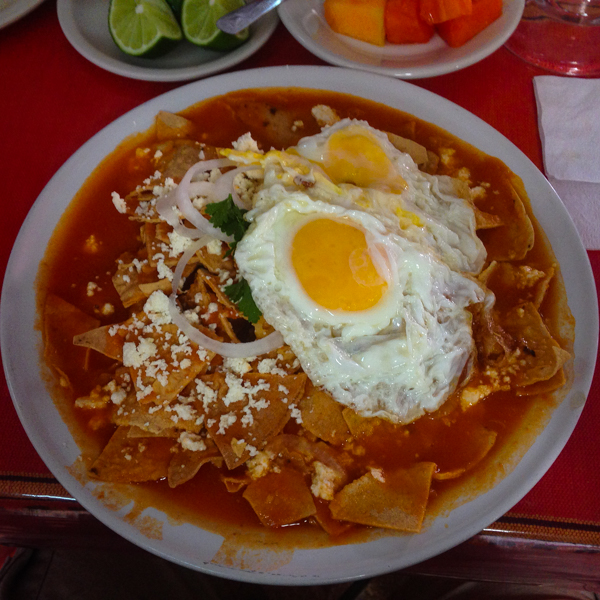 {Sunday breakfast of Chilaquiles at one of our favorite local haunts.}