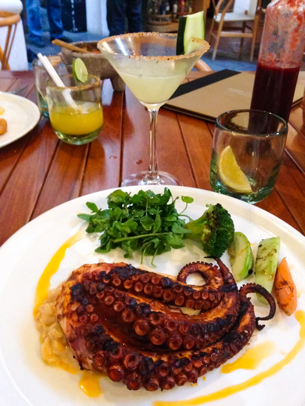 {Our Tenth Wedding Anniversary was on Wednesday. Celebrated with fancy dinner out. The pulpo was grilled to perfection and served on a wild mushroom risotto. Oaxaca's not all tacos.}