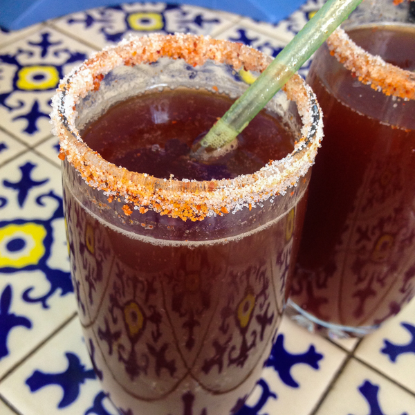 {Homemade Micheladas for our anniversary.}