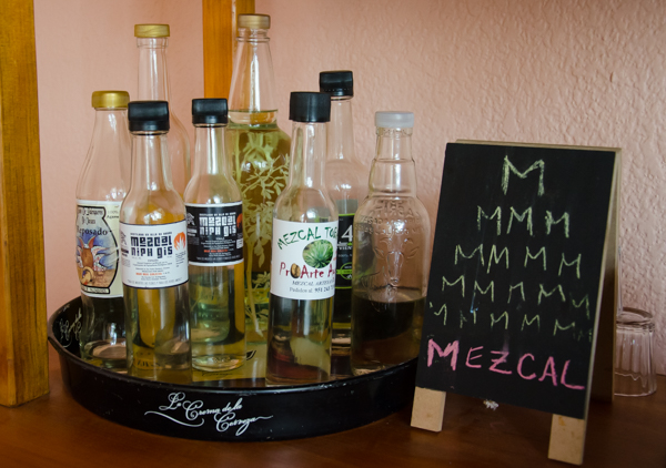 {Found an old metal beer tray to contain our mezcal collection}