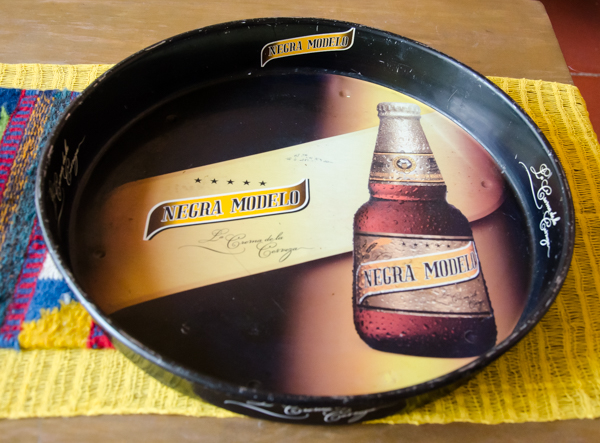 {Close up look at the old beer tray. Found this in one of the antiques booths at the weekly market.}